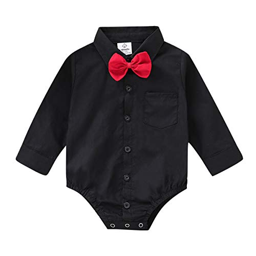 (ROMPERINBOX Infant Baby Boys Dress Shirt Bodysuit Formal Long Sleeve Rompers for Wedding Party (Black, 6-9 Months))