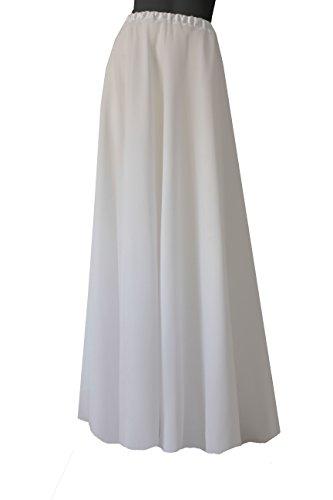 E K Women's satin & chiffon maxi wedding skirt 2in1 long bridal skirt-L-XL-ivory by E K