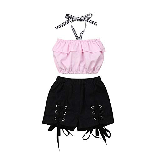 Toddler Girls Summer Shorts Set Halter Ruffle Top+ Demin Short Pants Kids Summer Clothes Outfits (Pink Top+Black Jeans, 4-5T)]()