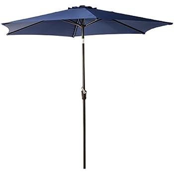 Grand Patio 9 Feet Patio Umbrella, Outdoor Market Umbrella With Push Button  Tilt And Crank, 6 Ribs, Blue