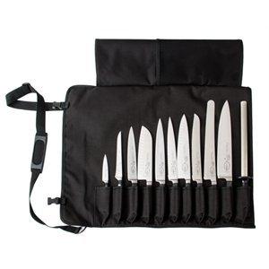 DICK Messertasche - Groß mit 11 Fächern für Messer, Gabel, Palette, Stahl, Garniergeräte mit max.Klingenlänge von 32 cm, Textilrolltasche waschbar