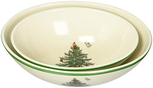 Spode Christmas Tree Oval Nesting Bowls, Set of 2