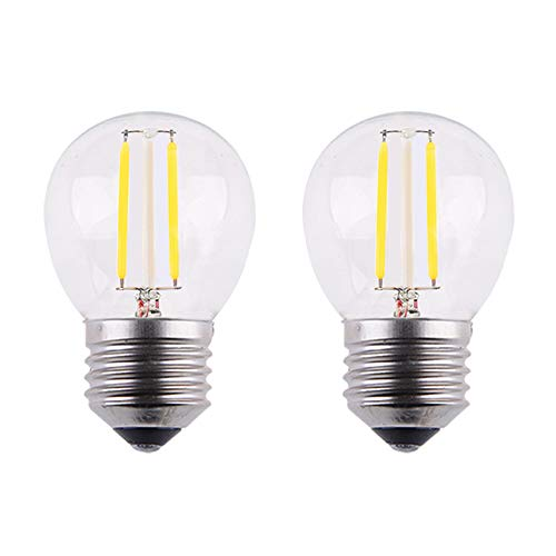 OPALRAY 2W LED Mini Globe Bulb, AC 12V, DC 12V, Dimmable with DC Dimmer, E26 Medium Base, 2700K Warm White Light, 25W Incandescent Replacement, Solar System 12 Volts Battery Power, 2 Pack