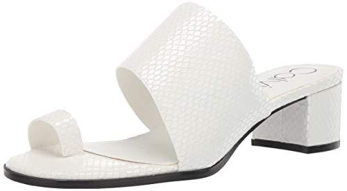 Calvin Klein Women's Dionne Heeled Sandal, White Snake, 9 M M US