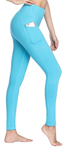 Women's High Waist Yoga Pants With Side & Inner Pockets Tummy Control 4 Way Stretch