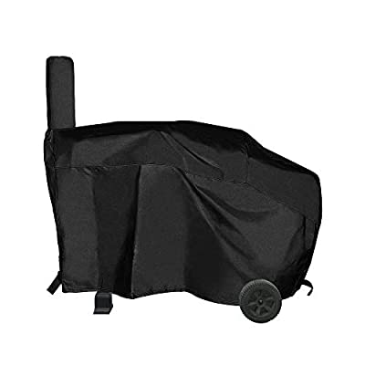 i COVER Charcoal Pellet Grill Smoker Cover-Heavy Duty Water Proof Patio Outdoor Canvas Offset Smoker Cover,Sized for Dyna-Glo Charcoal Grill Models DGSS675CB, DGSS675CB-D, Brinkmann Charbroil