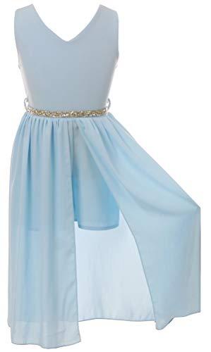 BluNight Collection Big Girls Sleeveless V Neck Rhinestones Maxi Skirt Short Jumpsuit Romper Dress Light Blue 12 (2J1K69S) -