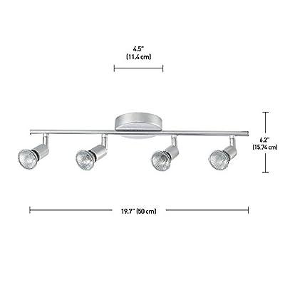 Globe Electric 4-Light Track Kit Light Bar, Brushed Silver Finish, GU10 Bulb Base Code, 58932