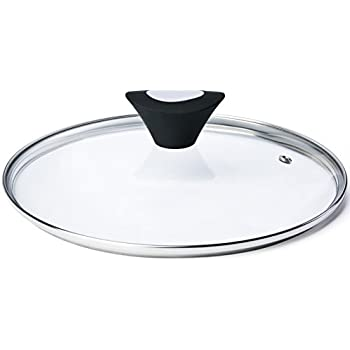 ETHDA Tempered Glass Lid, Fits Cookware of 12.5 inch, Universal Replacement for Frying Pan,Pot,Cast Iron Skillets,Wok, Round, Transparent, with Steam Vent ...
