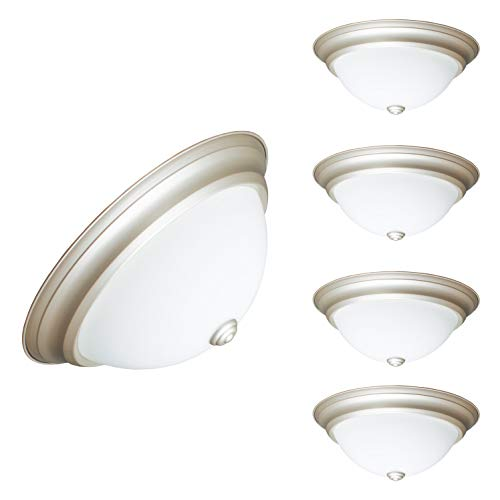 IN HOME 12,9 Inch LED Dimmable Flush Mount Ceiling Light Fixture Round Dome Opal Glass Shade 18 Watt (90W Repl) 4000K Bright Light 1000 Lm, Nickel Finish, 4-Pack, UL & Energy Star Listed