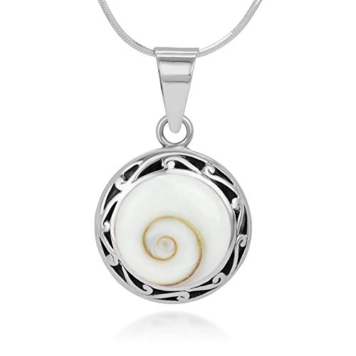 - SUVANI 925 Sterling Silver Filigree Edge Shiva Eye Shell Inlay Round Pendant Necklace, 18 Inches Chain