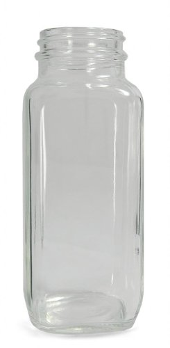 0.5 Ounce Square Glass (Qorpak GLA-00822 Clear Glass Wide Mouth French Square Bottle with 20-400 Neck Finish, 24mm Diameter x 62mm Height, 0.5oz Capacity (Case of 48))