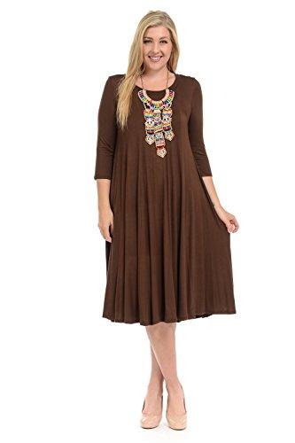 (Pastel by Vivienne Women's A-Line Trapeze Midi Dress Plus Size XXX-Large)