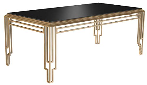Bombay D2006T0113 Art Deco Black Glass Top Rectangular Dining Table, 6.5 Ft, Brass -