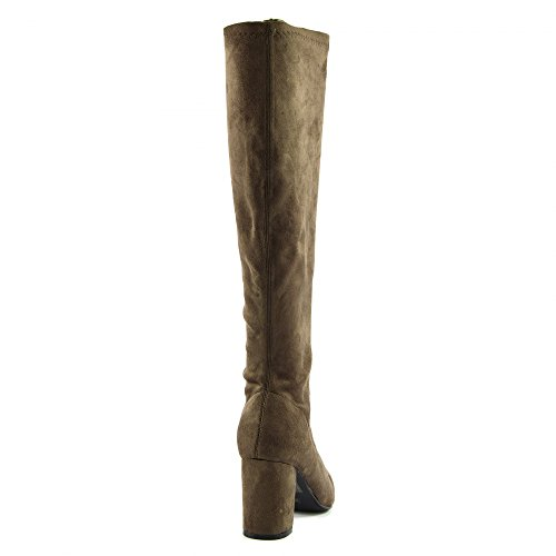 Black Taupe Kick Jambe Stretchy Pull Footwear Long On Womens Serre Bottes Talons Chaussures wrzCnrx7