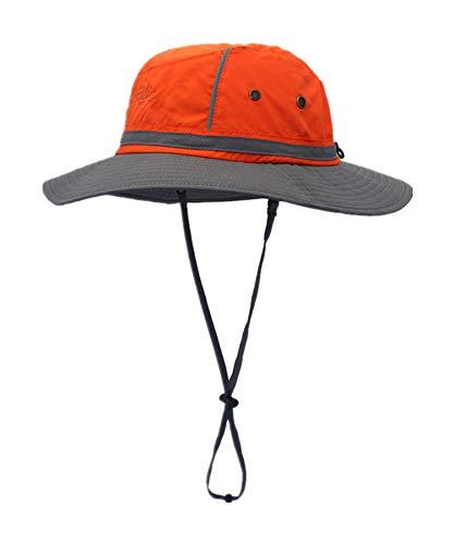 LLmoway Men Summer Hat UV Protection Safari Hat Adjustable Breathable Fishing Hat Foldable Orange ()