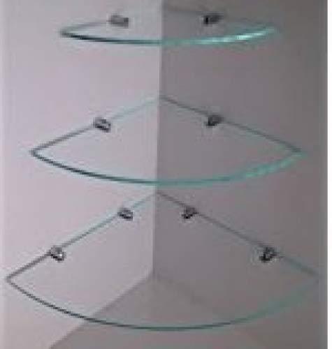 6/mm Glasdicke: ca mit verchromten Regelst/ützen Schlafzimmer 300/mm B/üro Eckregal aus geh/ärtetem Glas f/ür Bad