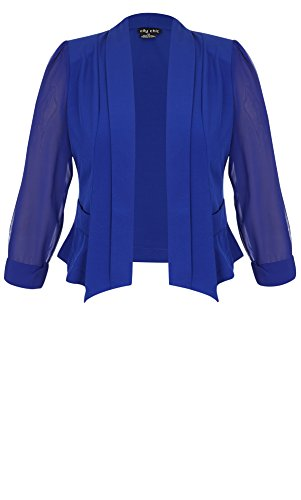 Designer Plus Size JKT CROPPED BLAZER - Cobalt - 22 / XL | City Chic