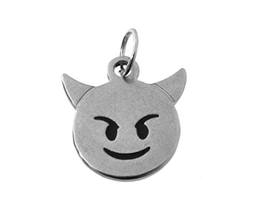 Sterling Silver 925 Naughty Little devil bad mean angry sly Devilish Emoji emoticon smiley Face Charm Halloween Jewelry -