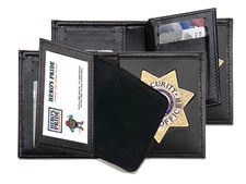 Bi-Fold 7 Pointed Badge Holder, Wallet, Money Section, Badge Area & 2 ID Windows, 100% Genuine Leather by Hero's Pride