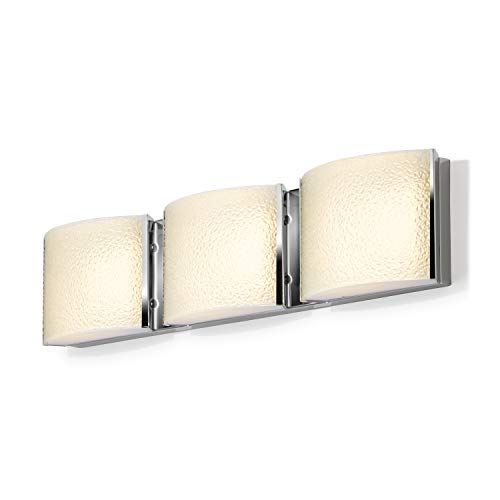 3 Light Bathroom Vanity - Chrome Metal Finish Fixture, Textured Water Glass, Hardwire, Damp Located - ETL Listed