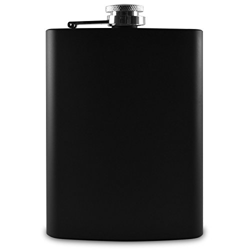 Premium-8-oz-Black-Flask-304-188-Stainless-Steel-Leak-Proof-Liquor-Hip-Flask-by-Future-Hydrate-Includes-Free-Bonus-Funnel-and-Black-Gift-Box-Matte-Black-8-ounce-capacity