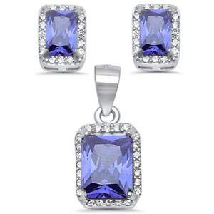 550ct Radiant Cut Tanzanite & Cz 925 Sterling Silver & Pendant Jewelry Set - Jewelry Accessories Key Chain Bracelet Necklace Pendants - Bracelet Set Radiant