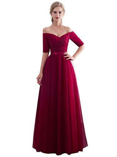 Beauty-Emily Evening Dresses Tulle Long Bridesmaid Dress for Wedding Party Formal Prom Gown Color Burgundy, Size US06