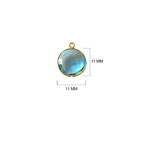 (4 Pcs Blue Topaz Coin Beads 11mm 24K gold vermeil by BESTINBEADS, Blue Topaz Hydro Quartz Coin Pendant Bezel Gemstone Connectors over 925 sterling silver bezel jewelry making)