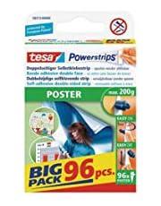 Tesa Powerstrips POSTER/dubbelzijdige plakstrips voor posters, affiches en lichte borden tot 200 g - verwijderbaar en herbruikbaar/Bigpack / 1 x 96 stuks