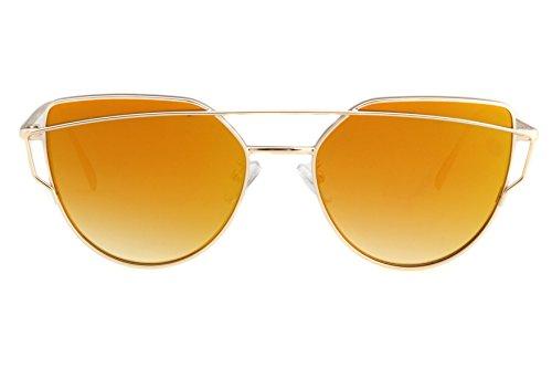 PUKCLAR Fashion Women Sunglasses Plate Plus Metal Glasses Leg Anti UV Anti Glare (C1 Gold Frame/Gold Mirrored Lens, 56) (C1 Gold Frame/Gold Mirrored Lens, - Latest Glasses Fashion