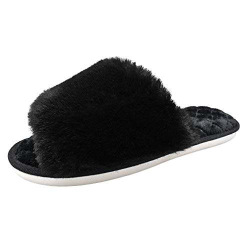 HUMIWA Black Women's Fuzzy Fur Flat Slippers Soft Open Toe House Slippers Memory Foam Sandals Slides Home Slippers for Girls Men Indoor Outdoor