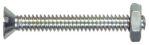 The Hillman Group 7839 Flat Head Slotted Machine Screw with Nut, 1/4-Inch x 2-Inch, 5-Pack (1/4 Inch Fh Fasteners)