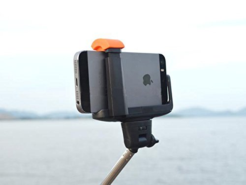 System-S Universal Monopod Selfiepod staff stick holder for selfies self-portait photography pictures video and integrated line shutter remote-control release via Bluetooth for iPhone Cameras and Smartphones