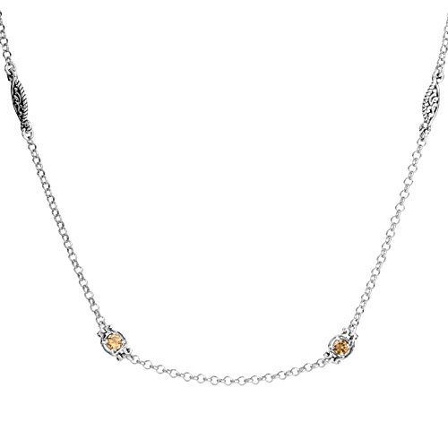 (Carolyn Pollack Sterling Silver Yellow Citrine Station Necklace 32 Inch )