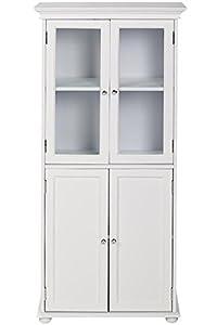 Hampton Bay 25 W Four Door Tall Bath Cabinet 52 5 Hx25 Wx14 D White Home Kitchen