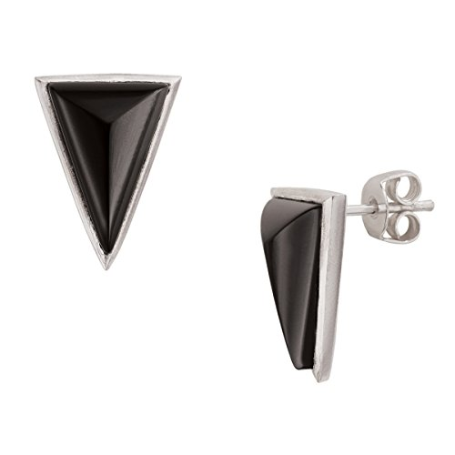 Silpada 'Triangle Edge' Sterling Silver and Agate Drop - Silver Black Earrings Agate