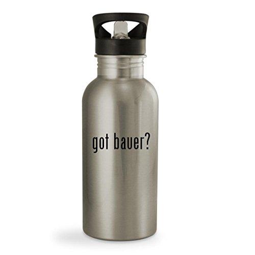 got bauer? - 20oz Sturdy Stainless Steel Water Bottle, Silver