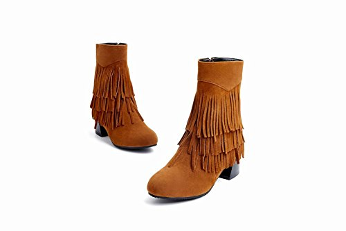 Short Mid Heel Tassels Boots Women's Yellow Zip Carolbar Stylish Dark pqgPYwxH