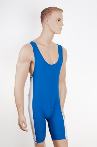 Wrestling/Grappling Suit Lycra Blue/White Size LARGE by Shihan