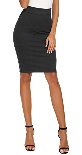 - EXCHIC Women's High Waist Bodycon Midi Pencil Skirt (XL, Heather Grey)