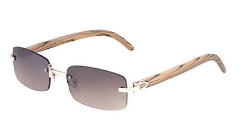 Dean Slim Rimless Rectangular Metal & Wood Aviator Sunglasses (Rose Gold & Light Brown Wood, Brown) ()