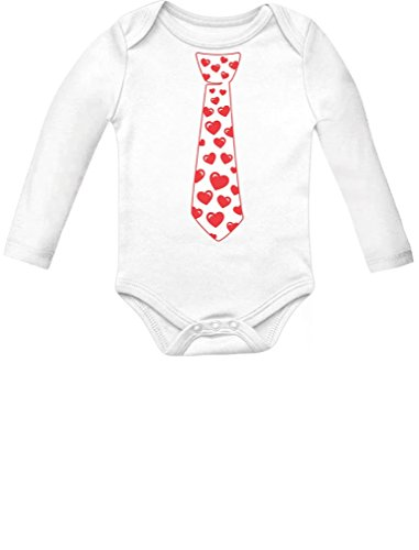 TeeStars Red hearts Tie Love - Valentine's Day Gift Cute Infant Baby Long Sleeve Bodysuit 18M White
