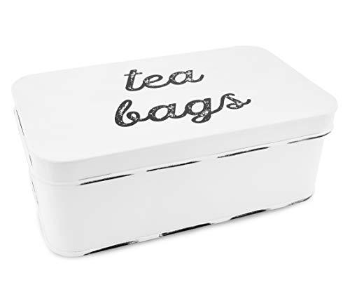 (AuldHome Farmhouse Tea Bag Box, Vintage Retro Style Enamelware Tea Storage Tin)