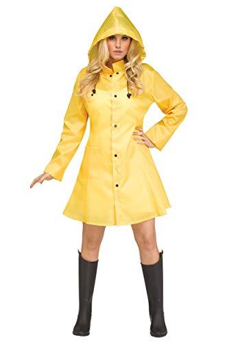 Scary Costumes Wiyh Yellow Rain Coat - Fun World Womens Yellow Raincoat