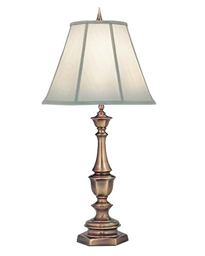 Stiffel TL-K6165-K9043-AB One Light Table Lamp, Antique Brass Finish with Ivory Shadow (Stiffel Lamp Shades)