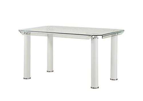 ACME Furniture Gordias White Dining Table with Glass Top (Table Top White Dining With Glass)