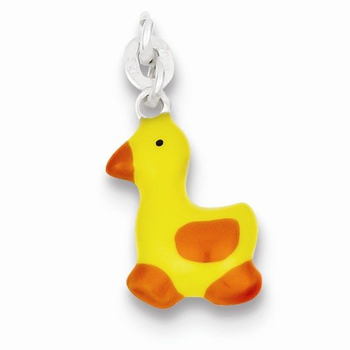 Enameled Duck Charm (Solid 925 Sterling Silver Pendant Enameled Duck Charm (24mm x 11mm))