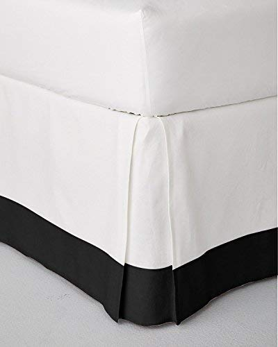 "Daily Delight Linen Classic Two Tone Box Pleated Bed Skirt Dust Ruffle Tailored Styling (White/Black, King - 21"" Drop)"