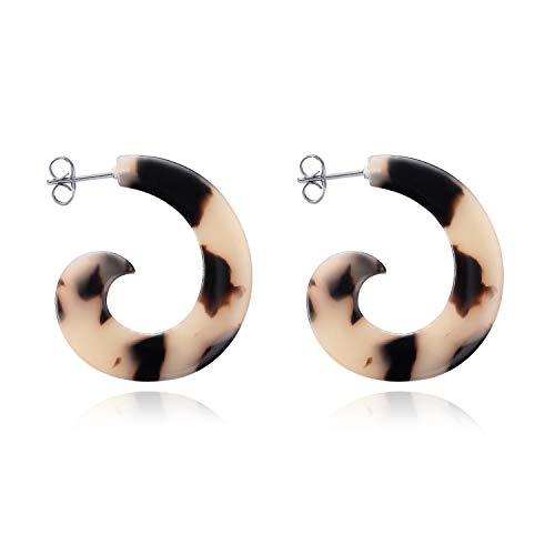 LUHE Resin Stud Earrings 925 Sterling Silver Acrylic Tortoise Shell Hoop Earrings Studs for Women baublebar Earrings for Girlfriend Wife Girls